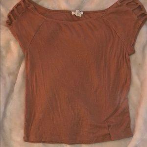 Tan cut out shirt